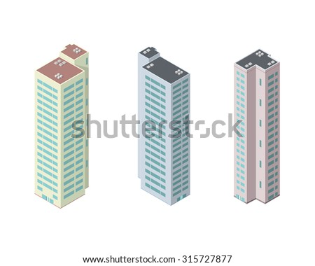 A vector illustration of new skyscraper tower blocks or condos. Isometric Tower blocks vector illustration icon set. Hi rise apartment block condos. - stock vector