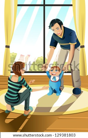 A vector illustration of parents helping their baby boy learning to walk - stock vector
