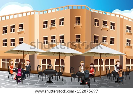 A vector illustration of people enjoying coffee outside of a cafe - stock vector