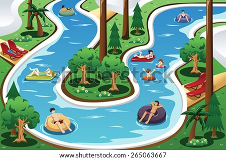 A vector illustration of people floating in a lazy river pool - stock vector