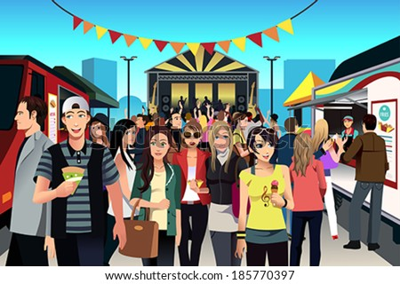 A vector illustration of people having fun in street food festival - stock vector