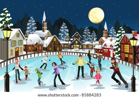 A vector illustration of people ice skating in an outdoor ice skating rink during the winter season - stock vector