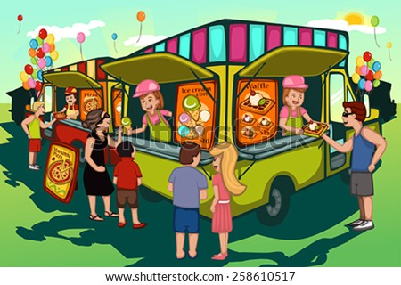 A vector illustration of people in food truck festival - stock vector