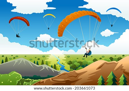A vector illustration of people paragliding with a beautiful view under - stock vector