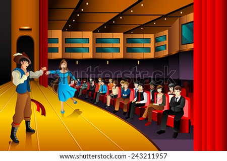 A vector illustration of people performing on a stage - stock vector