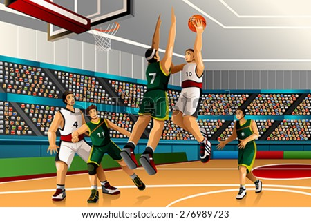 A vector illustration of people playing basketball in the competition for sport competition series - stock vector