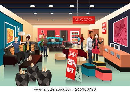 A vector illustration of people shopping in a furniture store - stock vector