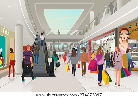 A vector illustration of people  shopping in a mall - stock vector
