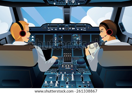 A vector illustration of pilot and copilot inside the cockpit - stock vector
