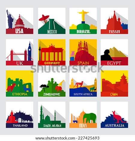 A vector illustration of popular sightseeing spots in the world icons - stock vector