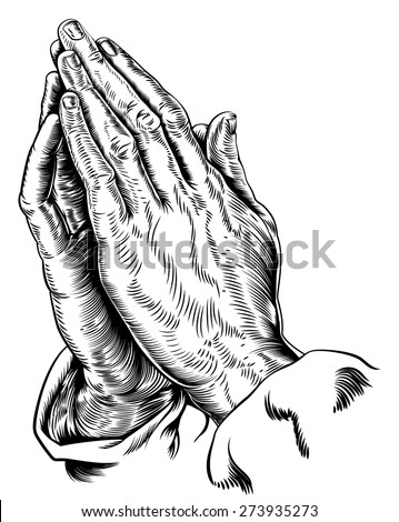 A vector illustration of praying hands inspired by Albrecht Durer s1508 study - stock vector