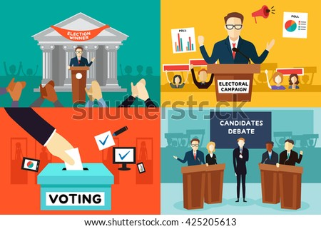 A vector illustration of presidential election poster - stock vector
