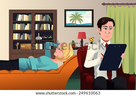 A vector illustration of psychiatrist working with a patient - stock vector
