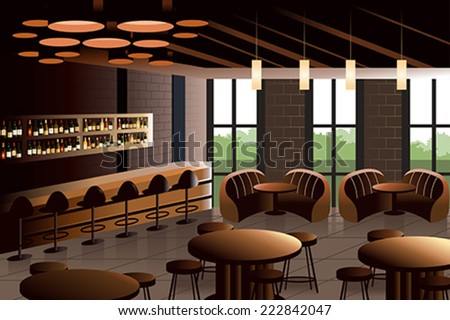 A vector illustration of restaurant interior with industrial look - stock vector