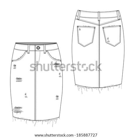 A vector illustration of Ripped Midi Jean Skirt - stock vector