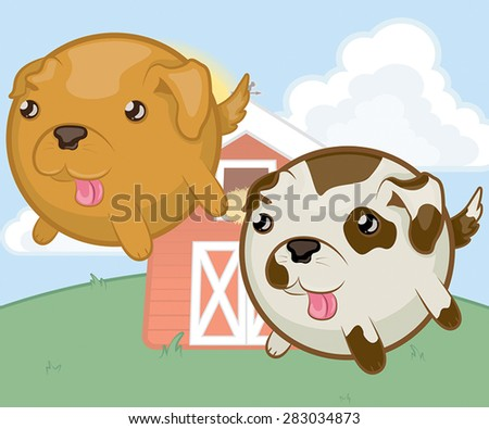 A vector illustration of round, stubby-legged dog characters.  Includes a golden-brown dog and a cream color dog with brown spots. - stock vector