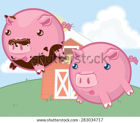 A vector illustration of round, stubby-legged pig characters.  Includes a pink pig covered in mud and a clean pig. - stock vector