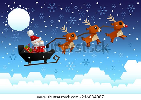 A vector illustration of Santa Claus riding the sleigh pulled by reindeers in the middle of winter night - stock vector