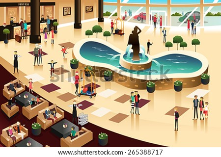 A vector illustration of scenes inside a hotel lobby - stock vector