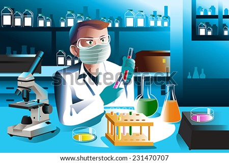 A vector illustration of scientist man working in laboratory - stock vector