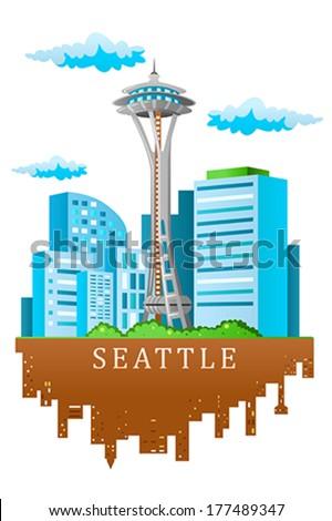 A vector illustration of Seattle skyline in cartoon style - stock vector