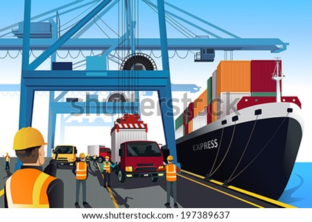 A vector illustration of shipping port scene - stock vector