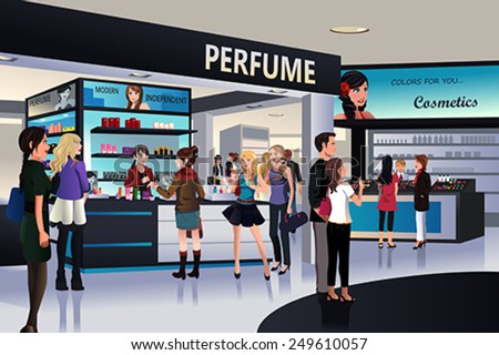 A vector illustration of shoppers shopping for cosmetic in a department store - stock vector