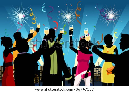 A vector illustration of silhouette of young people having New Year's celebration party - stock vector