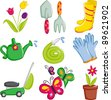 A vector illustration of spring gardening icons - stock vector