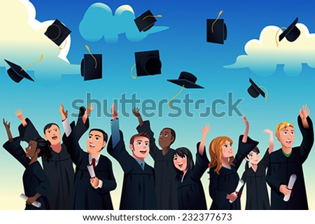 A vector illustration of students celebrating their graduation by throwing their graduation hats in the air - stock vector