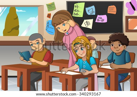 A vector illustration of students studying in classroom with teacher - stock vector