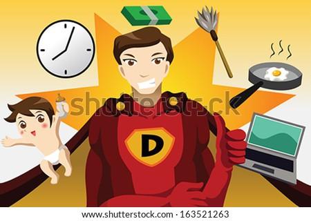 A vector illustration of superhero dad concept - stock vector