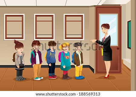A vector illustration of teacher lining up the students in front of the classroom - stock vector