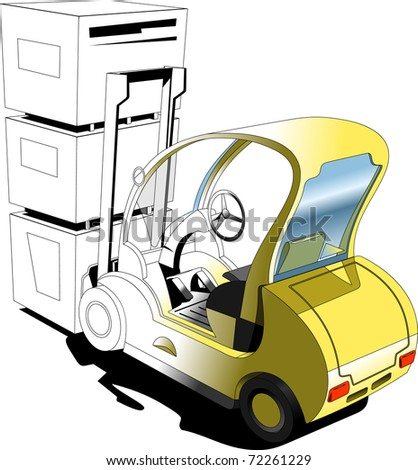 A Vector  illustration of the forklift. Simple gradients only - no gradient mesh. - stock vector