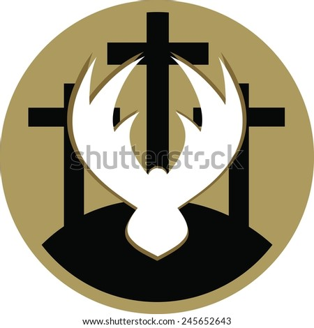 A vector illustration of three crosses on a gold circle background, with a white dove in the foreground representing the crucifixion and resurrection of Christ. - stock vector
