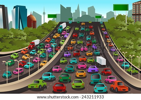 A vector illustration of Traffic on a highway - stock vector