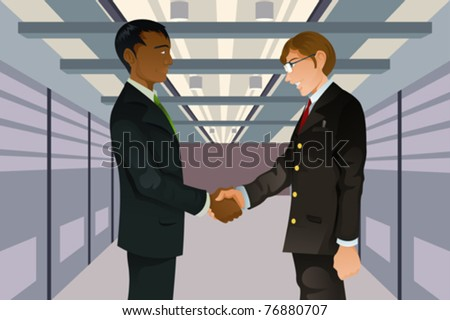 A vector illustration of two businessmen shaking hands in a technology data center - stock vector