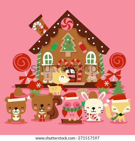 A vector illustration of various cute christmas woodland creatures like bears, owl, fox and more celebrating the christmas holiday in front of a cute whimsical gingerbread house. - stock vector