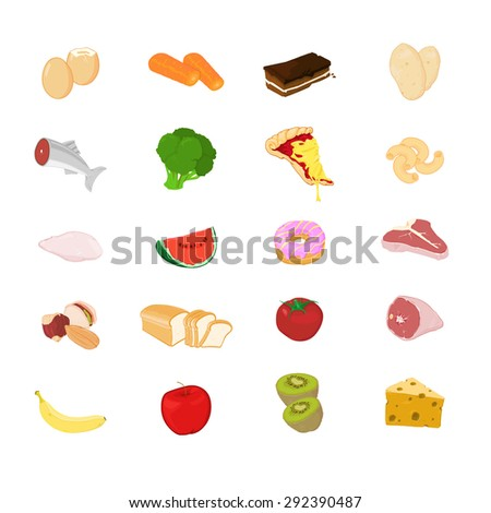 A vector illustration of various food. Food Icon set. Icons of all the major food groups. - stock vector