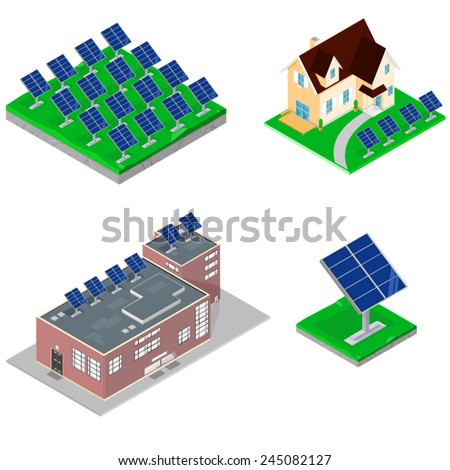 A vector illustration of various isometric modern buildings using solar power. Buildings With Solar panels. Isometric Buildings with solar panels.    - stock vector