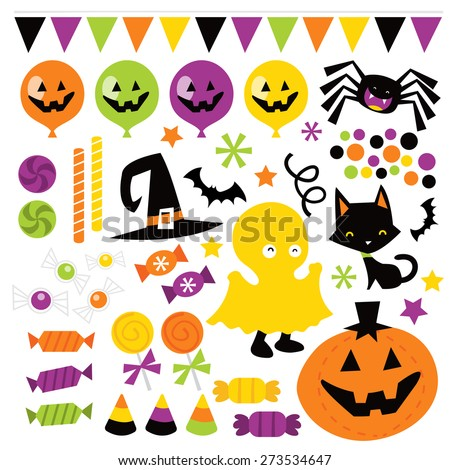 A vector illustration of whimsical fun retro halloween trick or treat design elements like candies, pumpkin, cat, and more. Ideal for party invitations,  - stock vector