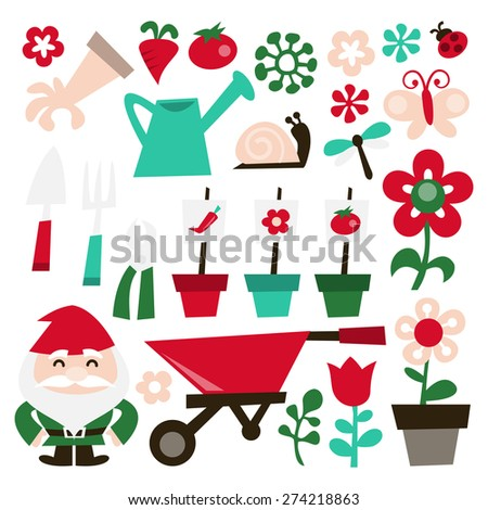 A vector illustration of whimsical retro gardening theme clip arts. Included in this set:- watering can, garden glove, vegetables, garden tools, garden gnome, insects and flowers. - stock vector