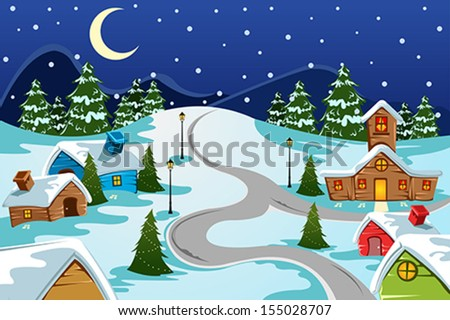 A vector illustration of winter village used for Christmas card - stock vector