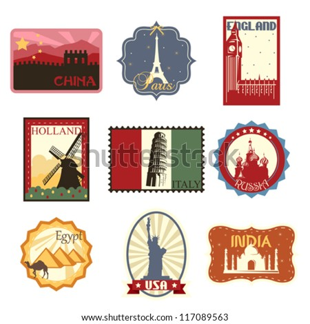 A vector illustration of world famous travel badges or labels - stock vector