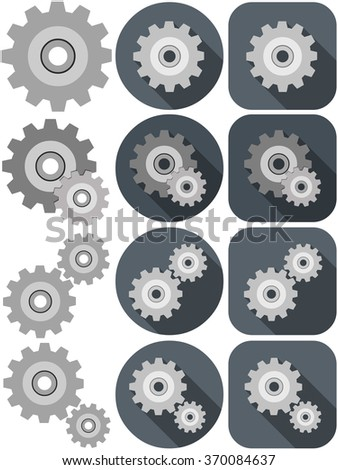 A vector illustration pack of settings icon made with wheels. - stock vector