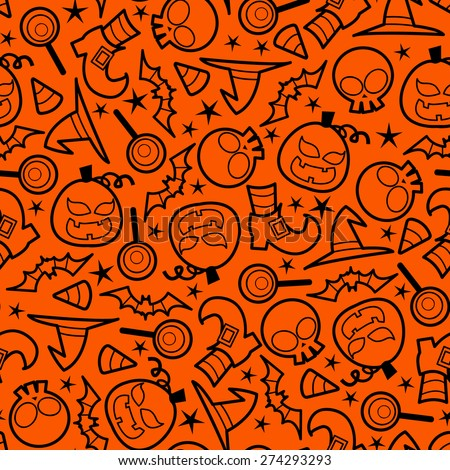 A vector illustration seamless pattern of spooky halloween icons theme. Color of the pattern can be easily changed. - stock vector