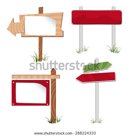 A vector illustration set of real estate display signs and directional posts. - stock vector
