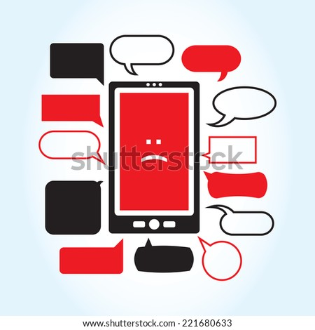 A vector illustration with a smartphone displaying a sad face icon surrounded by a series of mean looking text boxes. - stock vector