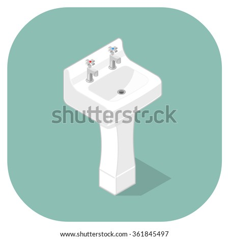 A vector isometric Icon of a domestic wash hand basin. Isometric sink vector icon illustration. Bathroom Hygiene Concept - stock vector