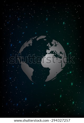 A vector planet earth in outer space with lots of stars - stock vector